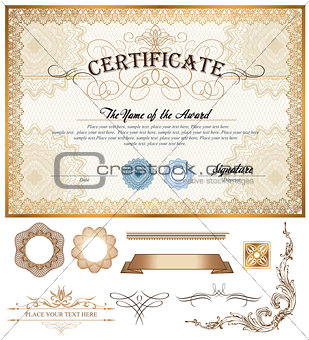 Certificate or coupon template with vintage border and additional design elements