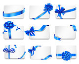 Set of beautiful cards with blue gift bows.