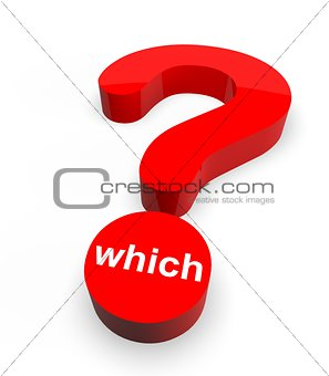 3d Question Mark with word Which