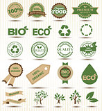 Set  labels and emblems of ecology and environment