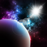 Photorealistic Galaxy background with planet and shining sun .  illustration