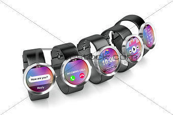 Group of smartwatches
