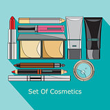 set of cosmetics in style flat