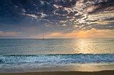 Eternity on Bulgarian sandy shore near sunrise meditation