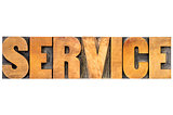 service word in wood type