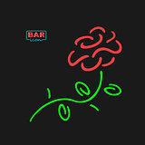 Neon Bar Symbol Rose
