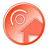 sun and home round icon