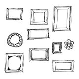 Hand drawn pen and ink style illustration of picture frames