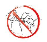 danger sign with sketch of the ant