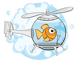 gold fish in helicopter