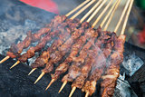 Delicious street food of Barbecued Lamb shish kebabs in Guilin