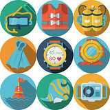 Colored flat vector icons for diving