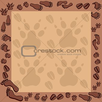 Footprints in brown frame 2