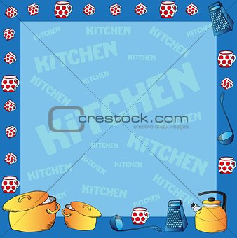 Frame with kitchen dishes
