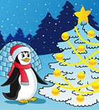 Penguin and christmas tree