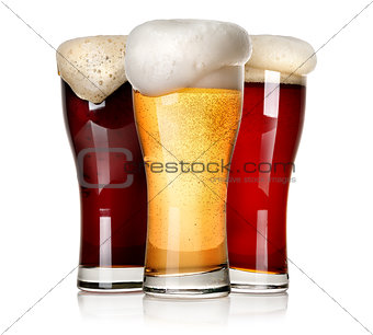 Three beers isolated