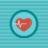 Heartbeat color flat icon