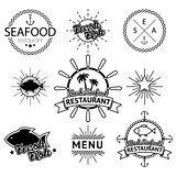 Illustration set of seafood labels