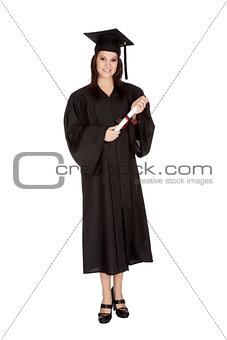 Beautiful Caucasian woman posing in a black graduation gown