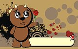 cute bull expression cartoon background8