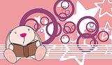 bunny baby cute reading cartoon background