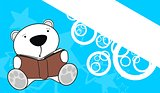 polar bear baby cute reading cartoon background