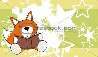 fox baby cute reading cartoon background