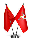 China and Isle Man - Miniature Flags.