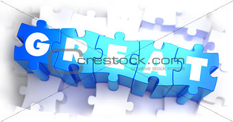 Great - White Word on Blue Puzzles.