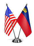 USA and Liechtenstein - Miniature Flags.