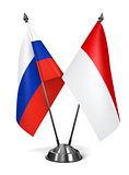 Russia and Indonesia - Miniature Flags.