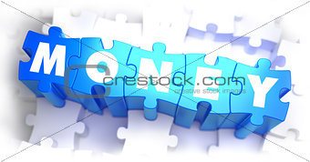 Money - White Text on Blue Puzzles and Selective Focus.