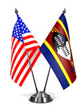 USA and Swaziland - Miniature Flags.