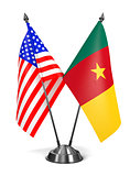 USA and Cameroon - Miniature Flags.