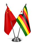China and Zimbabwe - Miniature Flags.