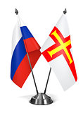 Russia and Guernsey - Miniature Flags.