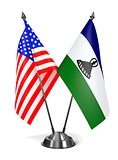 USA and Lesotho - Miniature Flags.