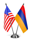 USA and Armenia - Miniature Flags.