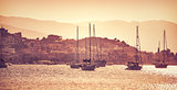Luxury sail boats in sunset
