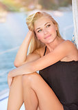Gorgeous female on sailboat