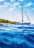 Luxury sailboat in the sea