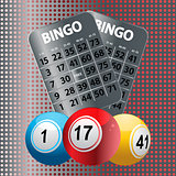 Bingo balls and metallic Bingo cards