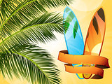 summer tropical surfboard with banner