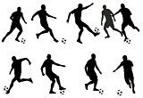 soccer players detailed silhouettes set