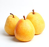 Three yellow juicy pears Closeup