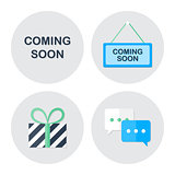 Coming soon shopping icons set