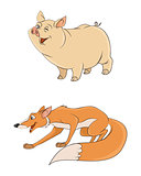 Two animals: fox and pig