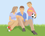 Young family on the grass