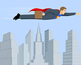 Superbusinessman above the city
