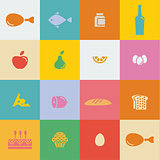 icons food and products in flat style vector illustration